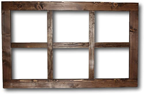 Wooden Window Frame Wall Decor Large Rustic wall Decor Farmhouse Decor Style Toffee Stained