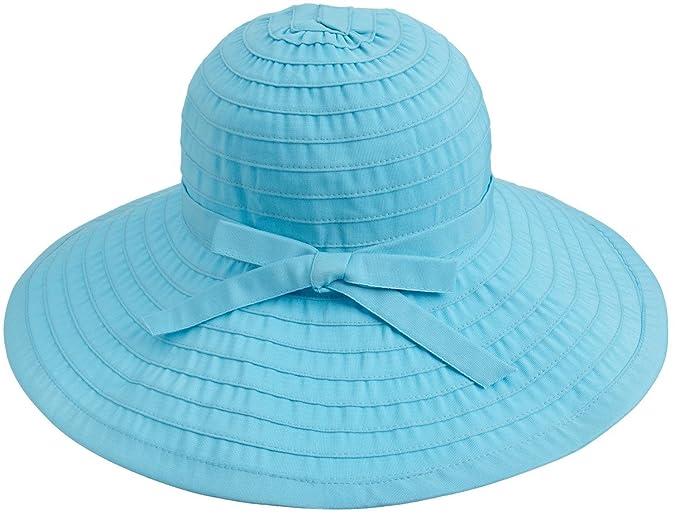 Simplicity Womens Sun Hat Summer UPF 50+ Roll Up Floppy Beach Hat w Ribbon 2128619aa063