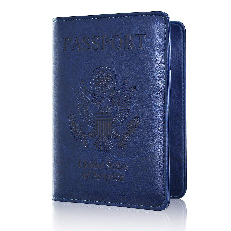 Passport Holder Cover, ACdream Travel Leather RFID Blocking Case Wallet for Passport, Dark Blue by ACdream (Image #2)