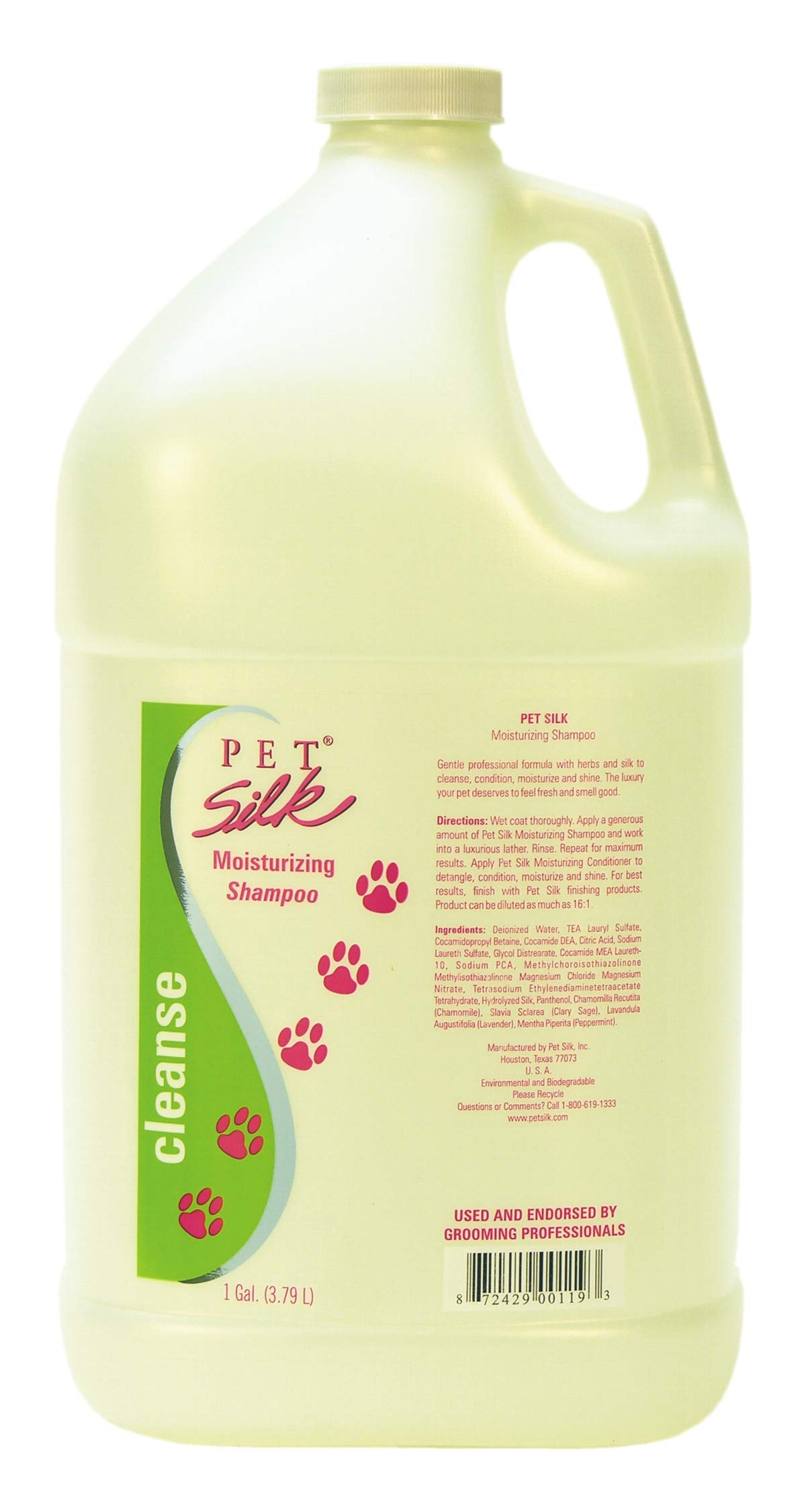 Pet Silk Moisturizing Shampoo (1 Gallon) - Dogs Moisturizing Shampoo for Dry, Itchy Skin - Infused with Silk, Vitamin E & Humectants - Pet Grooming Shampoo for Cats, Rabbits & Horse by PET SILK