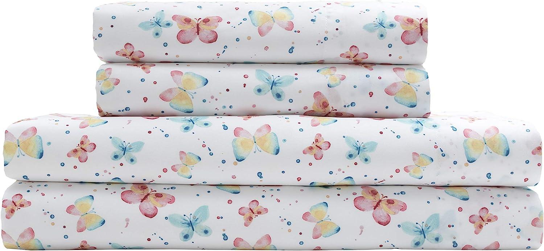 Elite Home Microfiber Watercolor Butterflies Sheet Set, Queen Butterflies