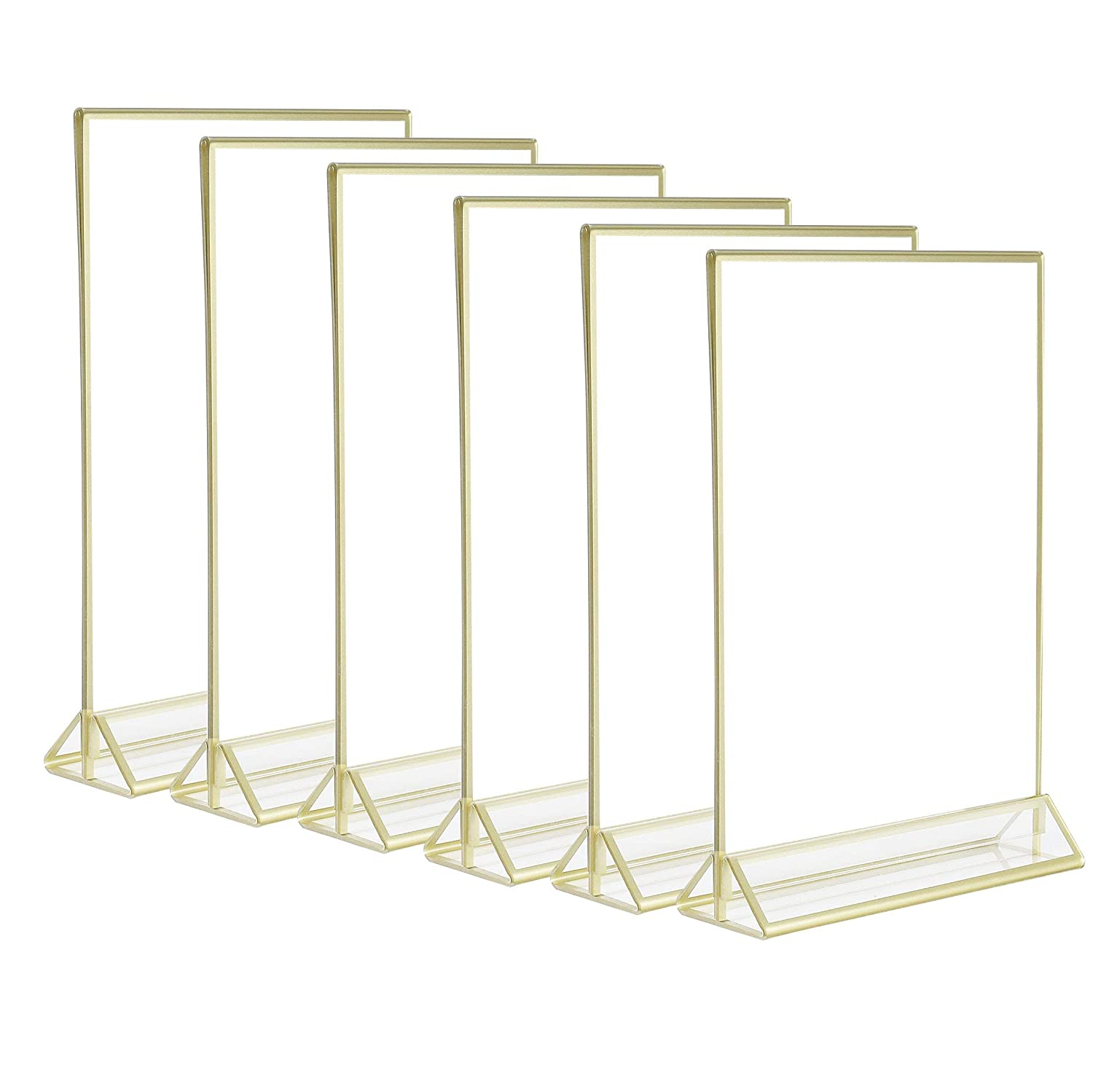 6Pack 5x7 Acrylic Menu Holders,Clear Acrylic Double Sided Frames Display Sign Holder with Vertical Stand and 3mm Gold Border by Cq acrylic 71BNmQgOo7L