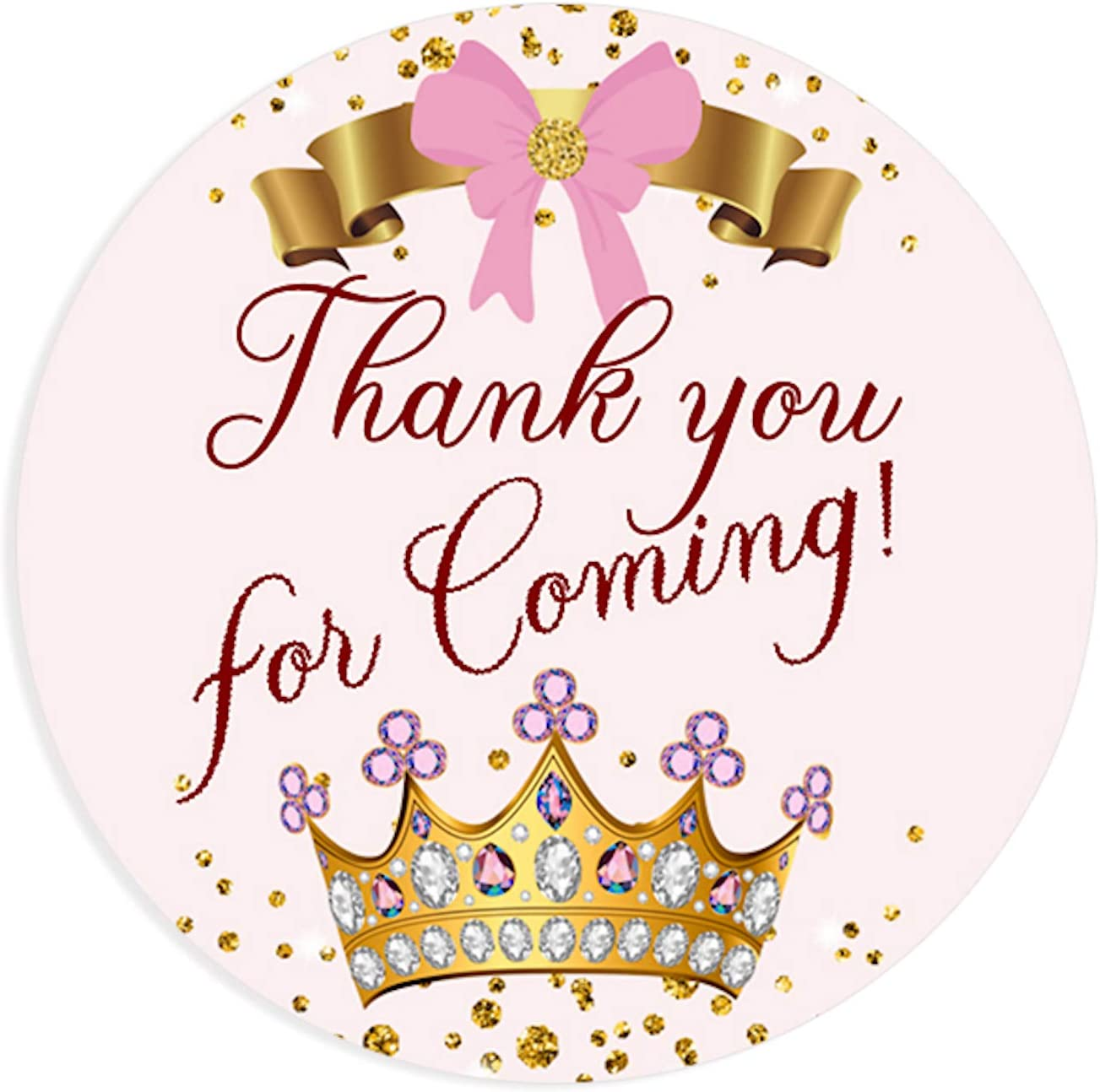 40 Custom Stickers Princess Birthday Party Favor Label Baby Girl Shower Pink