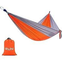 "Ohuhu Portable Nylon Fabric Travel Camping Hammock, 115"" Long X 55"" Wide, 600-Pound Capacity"