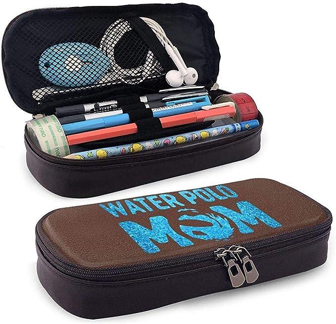 Blue Glitter Water Polo Mom Estuche de cuero para lápices Lápices Marcadores Bolsa para estudiantes Niños Niña Adultos: Amazon.es: Oficina y papelería