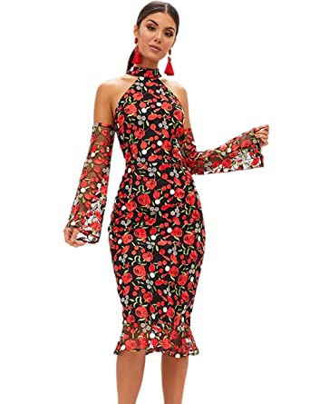 0233b96eead2 Maketina Women Halter Mesh Sleeves Cold Shoulder Midi Embroidered Bodycon  Dress Red XS