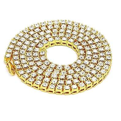 5a4d02953860b Fairy Whisper Mens 18K Gold Plated Hip Hop Iced Out Tennis Chain ...