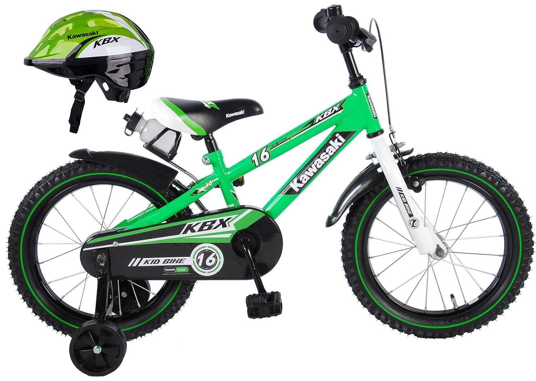 48-50 Kawasaki Kinderfahrrad KBX 16 Zoll mit Rücktrittbremse 95% montiert Fahrradhelm für Kinder Shikuro grün 48-50 50-52 cm