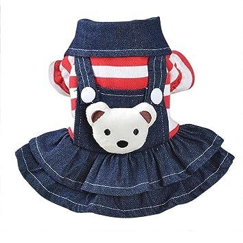 Saisiyiky pequeño Perros Accesorios Ropa Mascotas Disfraces suéter para Perros Trajes de Halloween Camisetas para Perrito Falda Vaquera con Correa ...