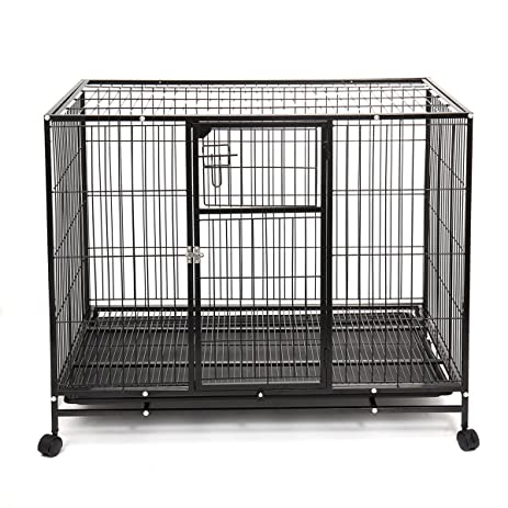 haige pet heavy duty dog crate large metal wire pet cage kennel w