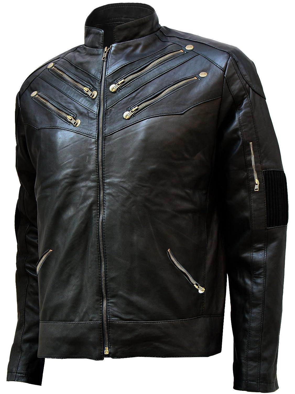 Soft & Stylish Zipper Style Men's Black Leather Biker Jacket