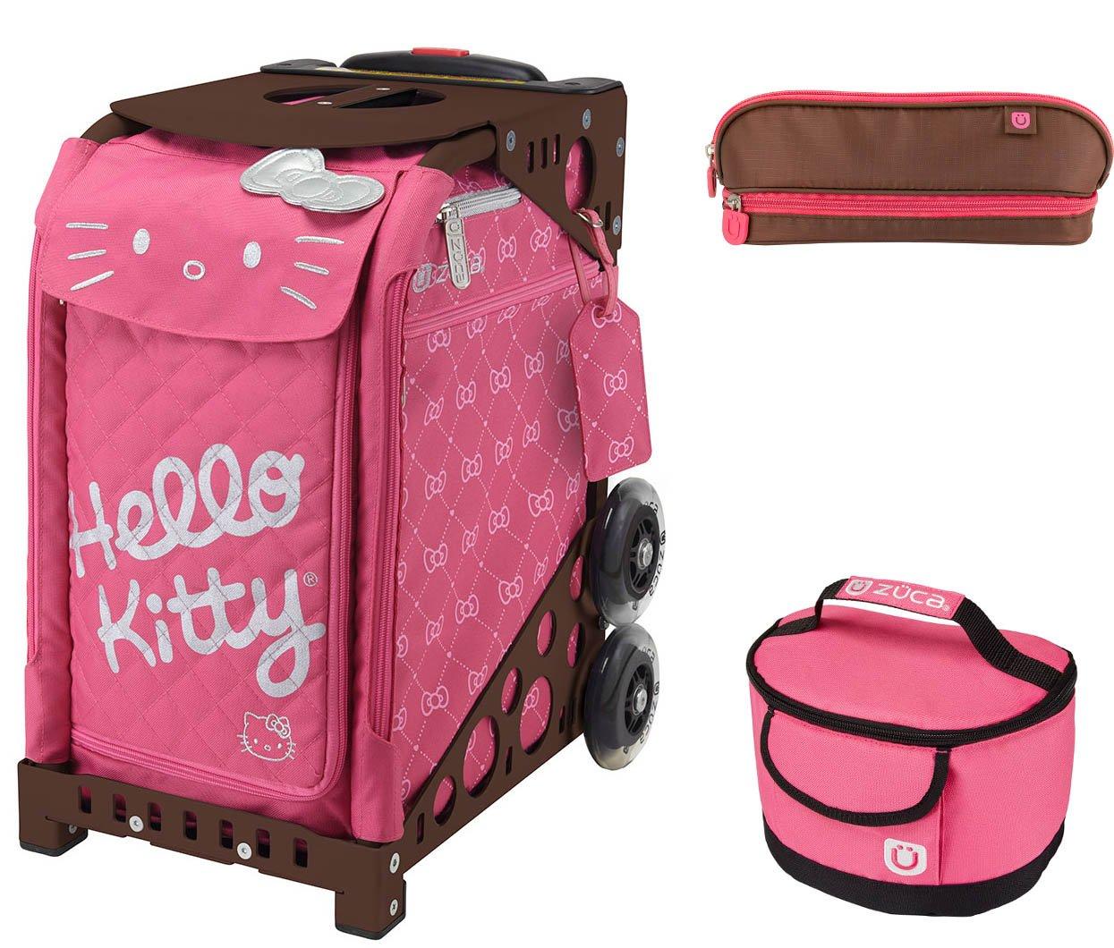 Zuca ハローキティ ピンク ルクスバッグ ブラウン スポーツフレーム ランチボックスとペンケース付き
