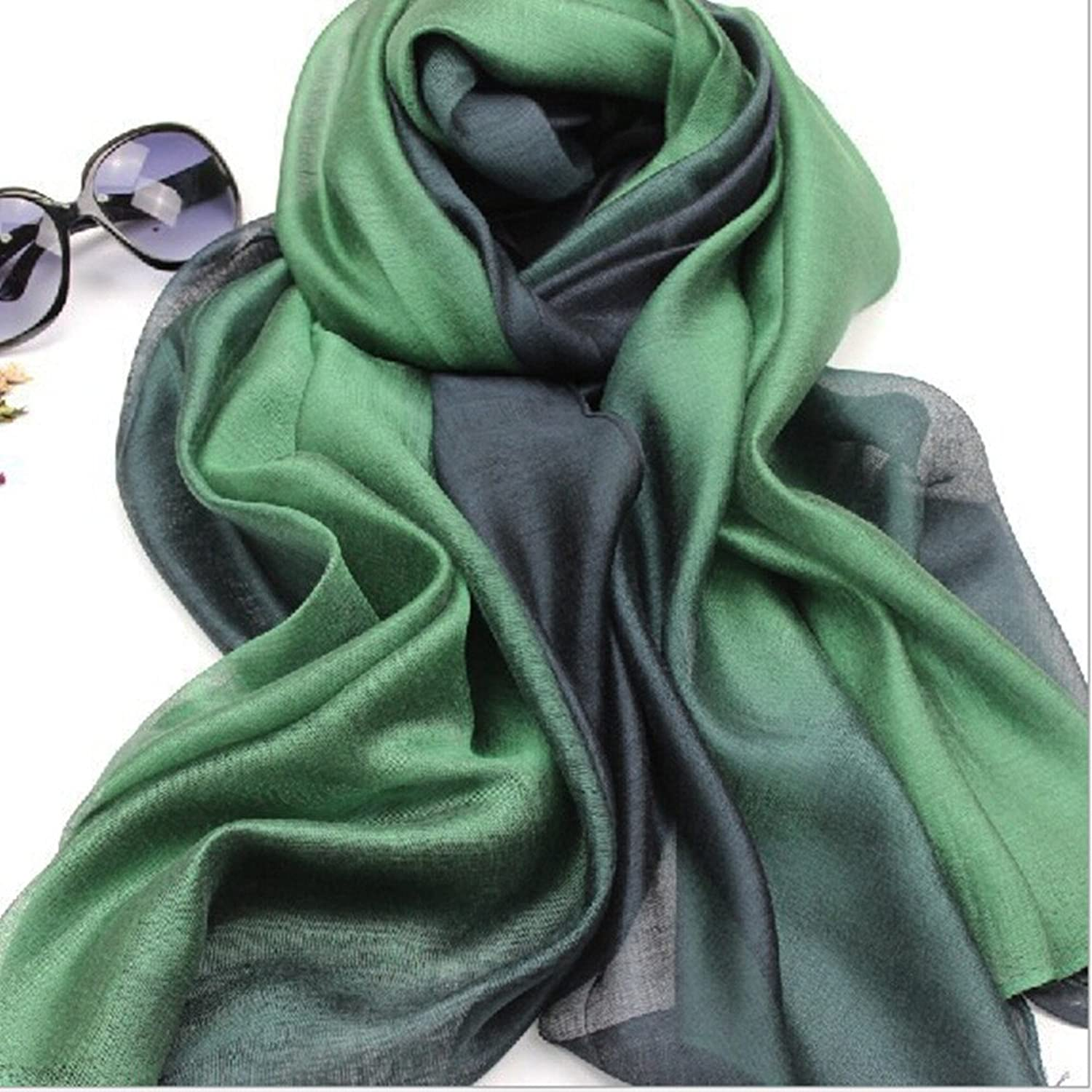 Women Fashion Elegant Green Soft Silk Scarf Lightweight Luxurious Wraps Scarves