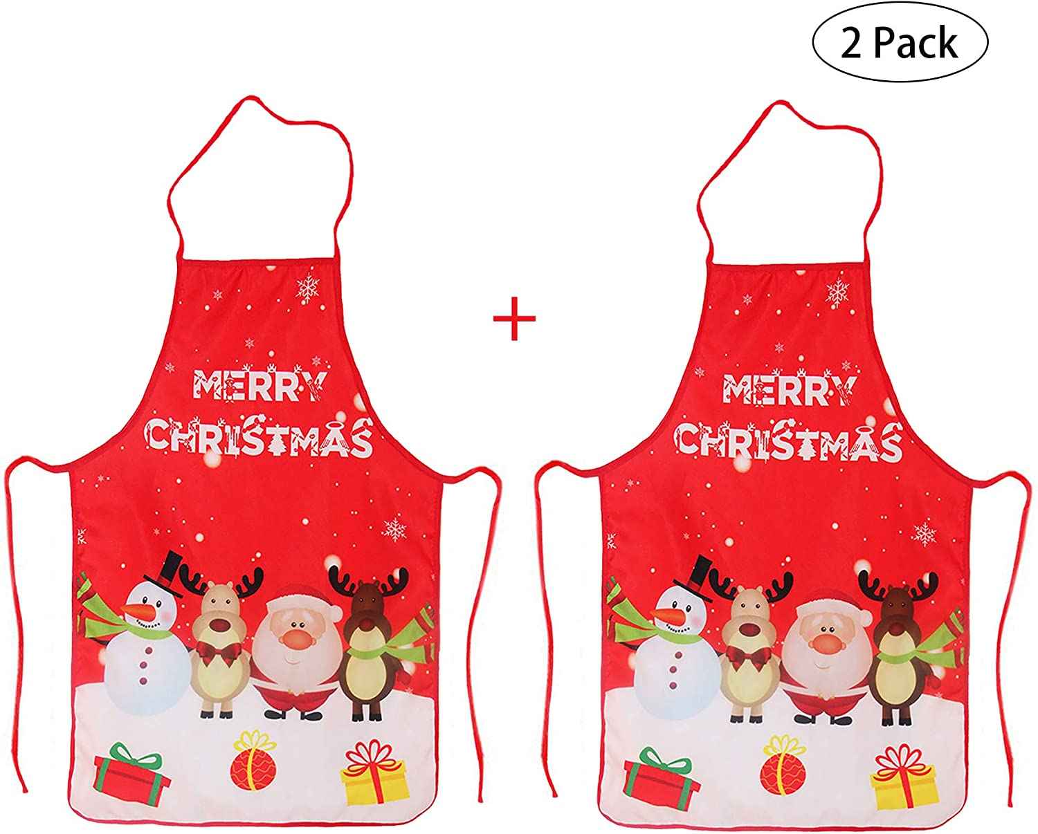 LeeLoon 2 Pack Chistmas Apron  Holiday Kitchen Apron Christmas Santa Claus Elk Snowman Style Decoration Apron for Christmas Dinner Party Cooking Baking Crafting House Cleaning Kitchen