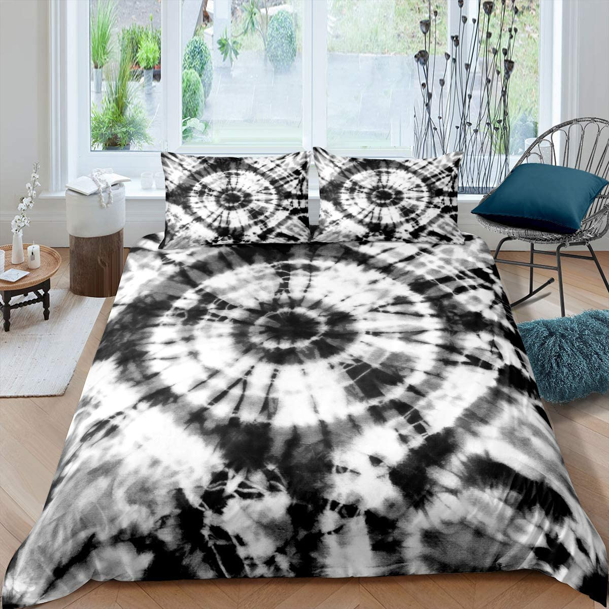 Manfei Tie Dye Comforter Cover Set White Black Swirl Pattern Duvet Cover Psychedelic Hippie Bedding Set 2pcs for Kids Girls Microfiber Bedspread Cover with 1 Pillow Case(No Comforter) Twin Size