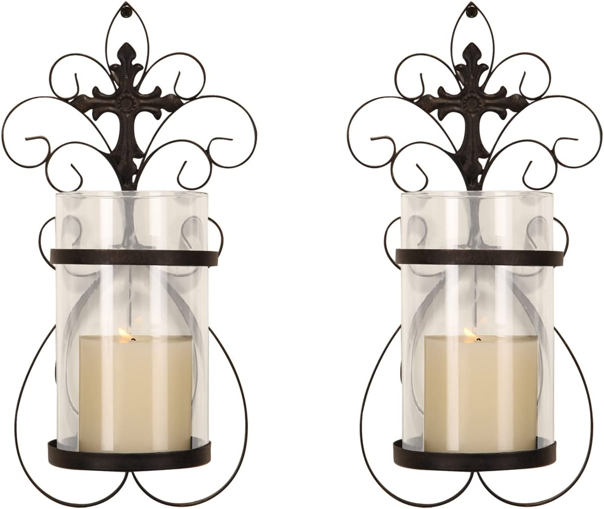 Asense Iron and Glass Vertical Wall Hanging Candle Holder Sconce Wall Decor for Living Room, Bedroom (Set of 2)