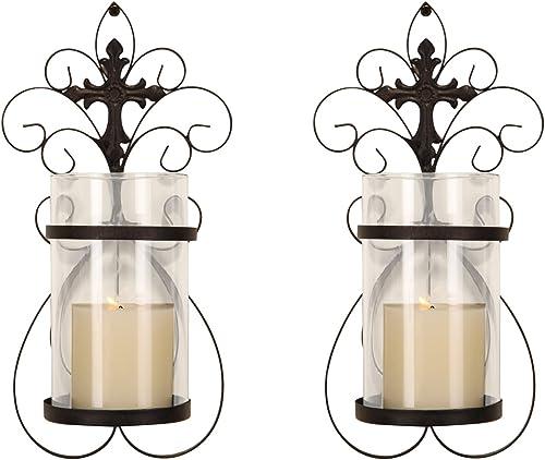 Decent Home Candle Sconces,Set of 2 Elegant Decorative Candle Holder 6.3 x 5.3 x 13.6 Inch