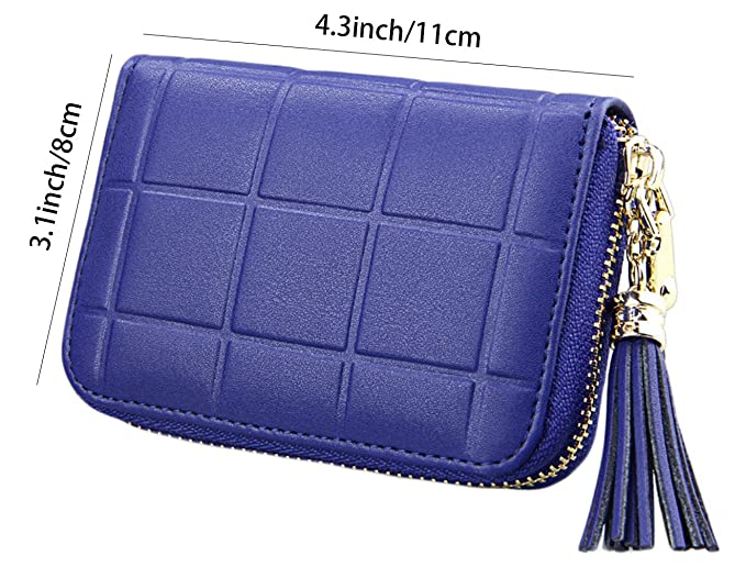 Cartera para mujer, de la marca iSuperb, con protección RFID, de cuero auténtico y con cremallera Azul azul: Amazon.es: Equipaje
