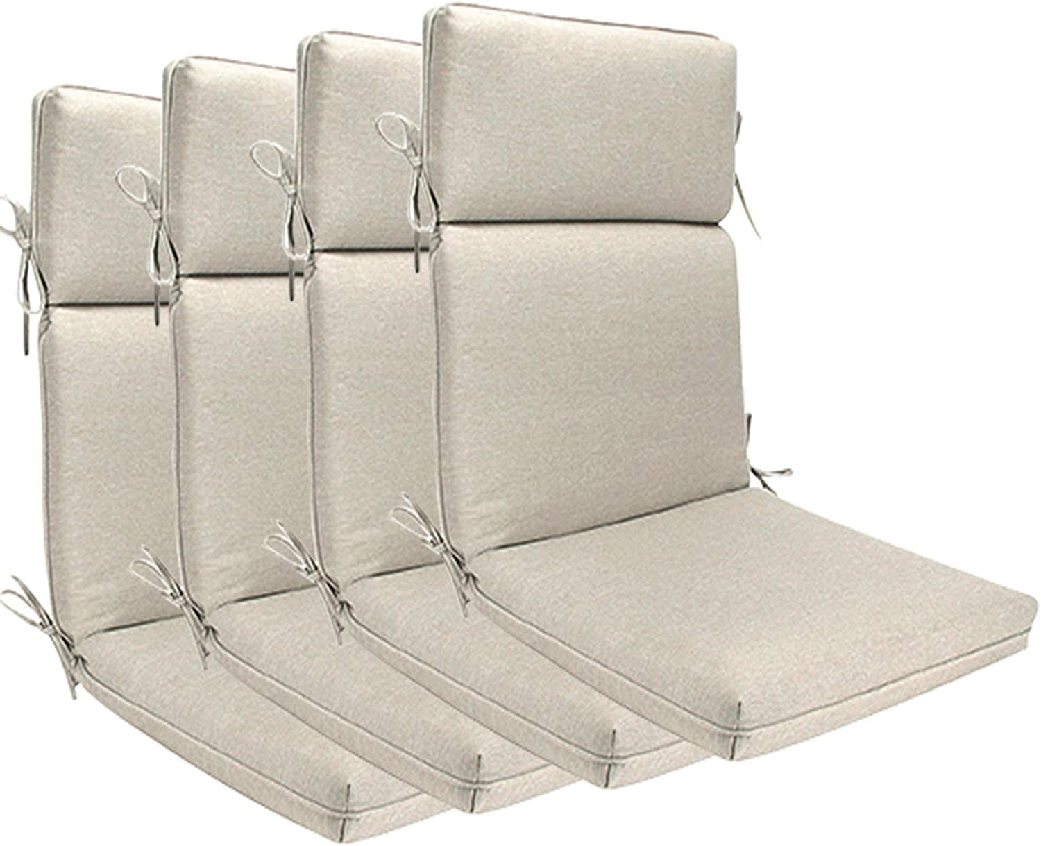 BOSSIMA Indoor Outdoor High Back Chair Cushions Replacement Patio Chair Seat Cushions (Olefin Beige)