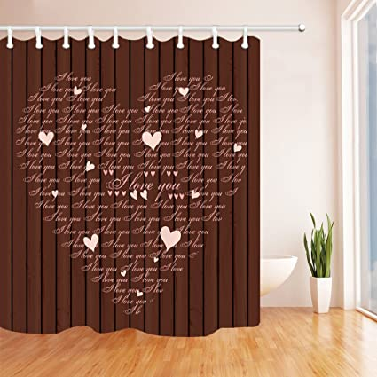 NYMB Valentines Day Shower Curtain A Heat Shaped I Love You Chocolate Background