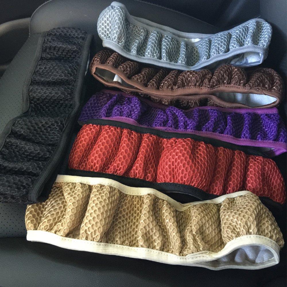 Rayauto Breathable Mesh Car Steering Wheel Cover Anti-slip No Fixed Inner Race-purple