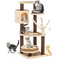 Advwin 110CM Pet Cat Tree Scratching Post Tower Condo Toy Gym House Furniture Wood(46x46x110cm, Beige)