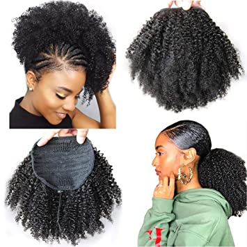 Amazoncom 8inch Human Hair Afro Puff Ponytail Extensions For