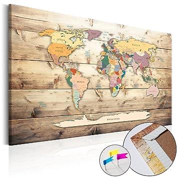 Weltkarte Pinnwand 90x60 Cm Leinwand | Bilder Leinwandbilder   Fertig  Aufgespannt Auf Dicker 10mm Holzfasertafel!