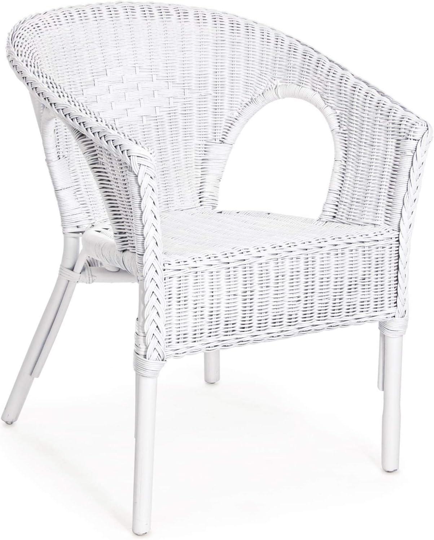 ARREDinITALY - Juego de 4 sillones para Exteriores de ratán con Trenzado de Mimbre, Color Blanco: Amazon.es: Jardín