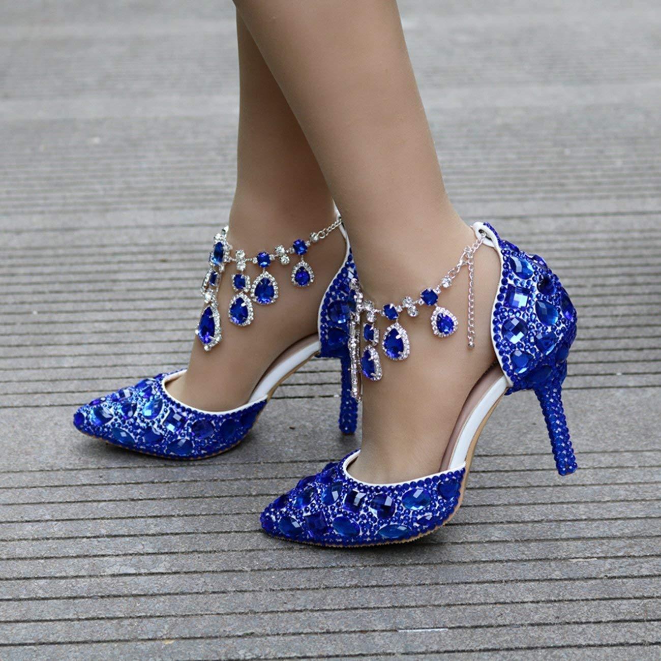 Qiusa Damen Strass Kristalle Perlen Knöchel Ketten blau blau blau Braut Hochzeit Schuhe UK 3 (Farbe   - Größe   -) ef3a68