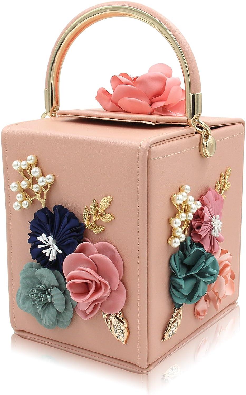 Womens Fashion Floral Embellishment Small Shoulder Handbag Detachable Purse Bag