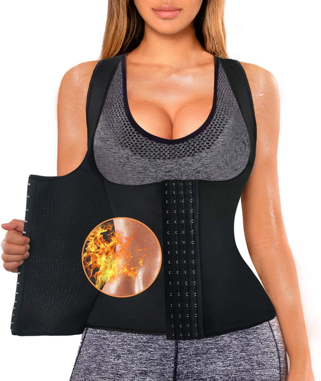 Sweat Waist Trainer Girdle Workout Sauna Tank Top Vest for Women Weight Loss Exercise Double Tummy Slimmer