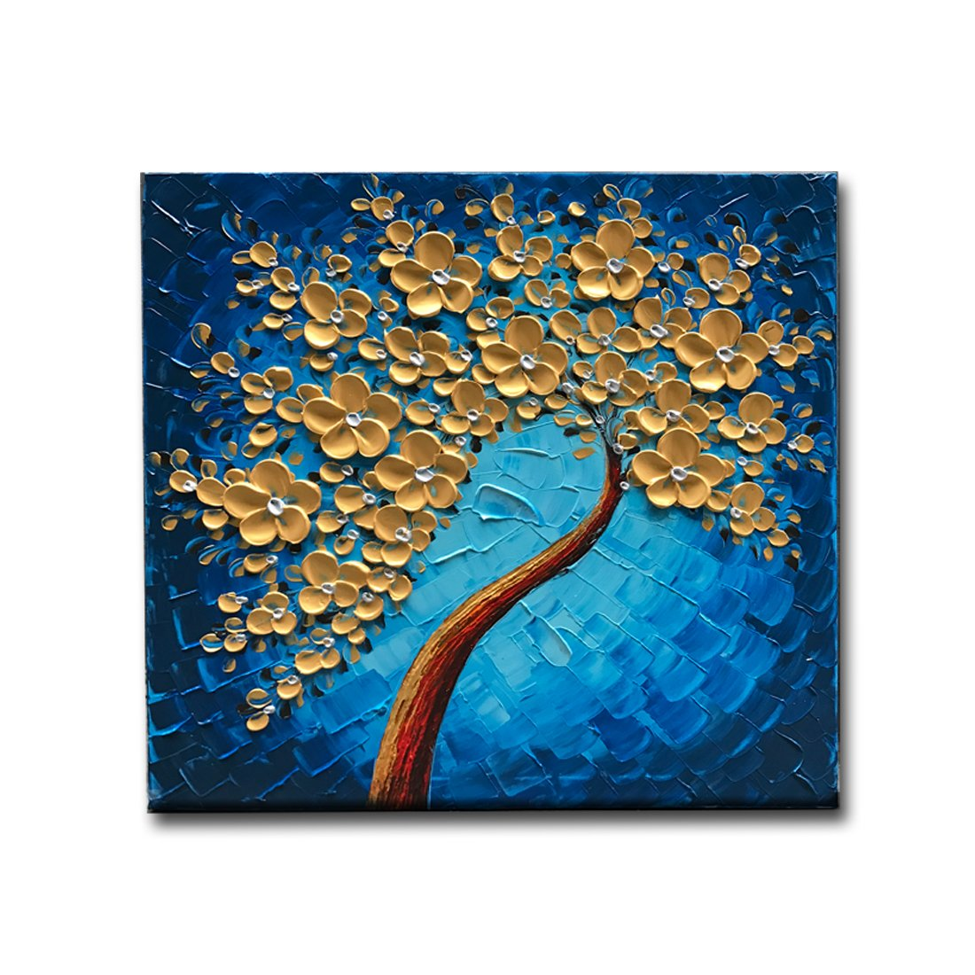 Okbonn-3D Blue and Gold Flowers Oil Painting Abstract Modern Artwork Floral Tree Squarel Wall Art On Canvas For Living Room Bedroom Office Home Decor Framed Art(24X24 inch)