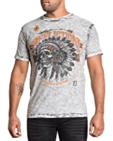 Affliction Men Reversible Shirt Crafted Motor Tee Skull S/s Crew Neck in Black/White