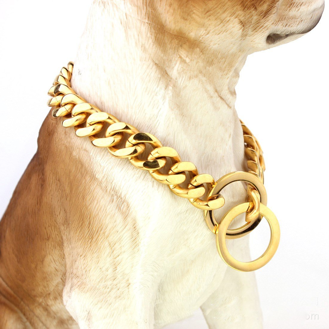 26 inch Pet Online Dog collar mirror polished stainless steel p chain vacuum metallizing titanium steel chain necklace pet dog training leash Tow Collar 15mm gold, 26 inch