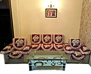 Buy Shc Gold Lily Maroon Polycotton Sofa Slipcover Set With 6 Arms