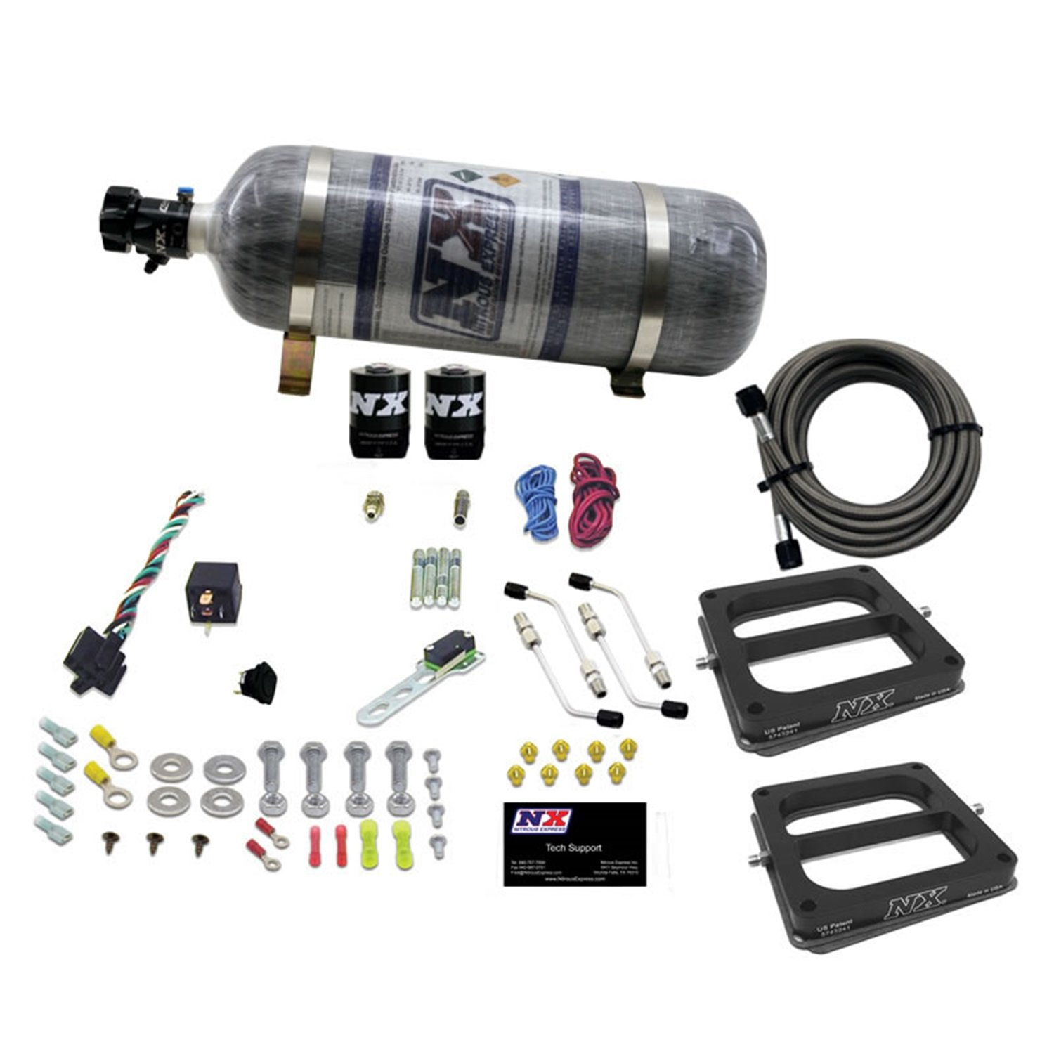 Composite Bottle Nitrous Express 30275-12 50-300 HP Dual//Dominator//Alcohol Conventional Stage 6 Plate System with 12 lbs