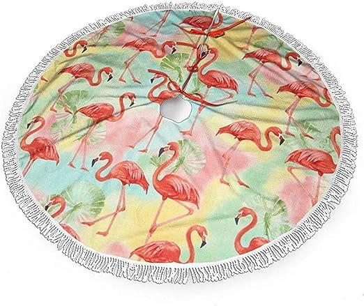 Not Applicable Falda De Árbol De Navidad,Pink Flamingo Y Cloud ...