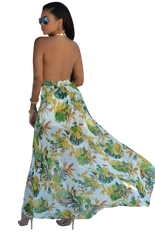 a4685faaff4 MisShow Women Boho Floral Dress Long Maxi Evening Party Beach Romper  Sundress at Amazon Women s Clothing store