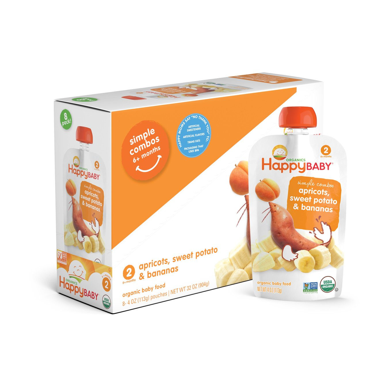 Happy Baby Organic Stage 2 Baby Food Simple Combos Apricots Sweet Potatoes & Bananas, 4 Ounce Pouch (Pack of 16) Resealable Baby Food Pouches, Fruit & Veggie Puree, Organic Non-GMO Gluten Free Kosher by Happy Baby