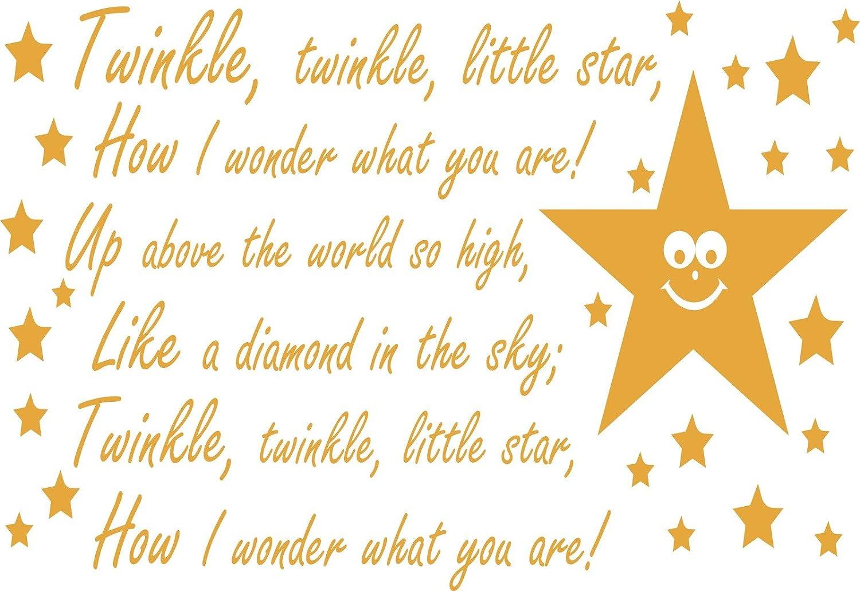 Twinkle Twinkle Little Star Childs Nursery Rhyme wall sticker A4 ...
