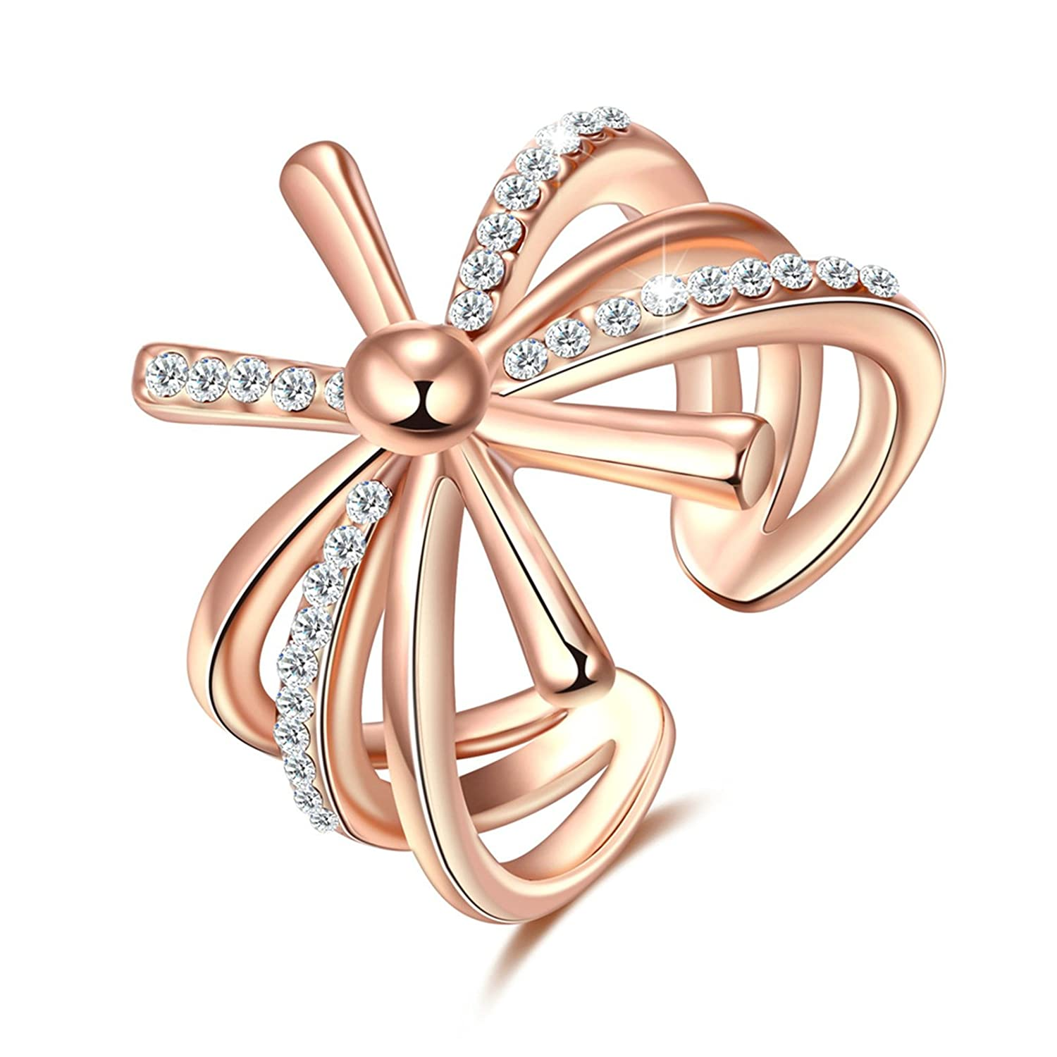 Epinki Rose Gold Plated Women Ring Sunflower Solitaire Ring White Cubic Zirconia