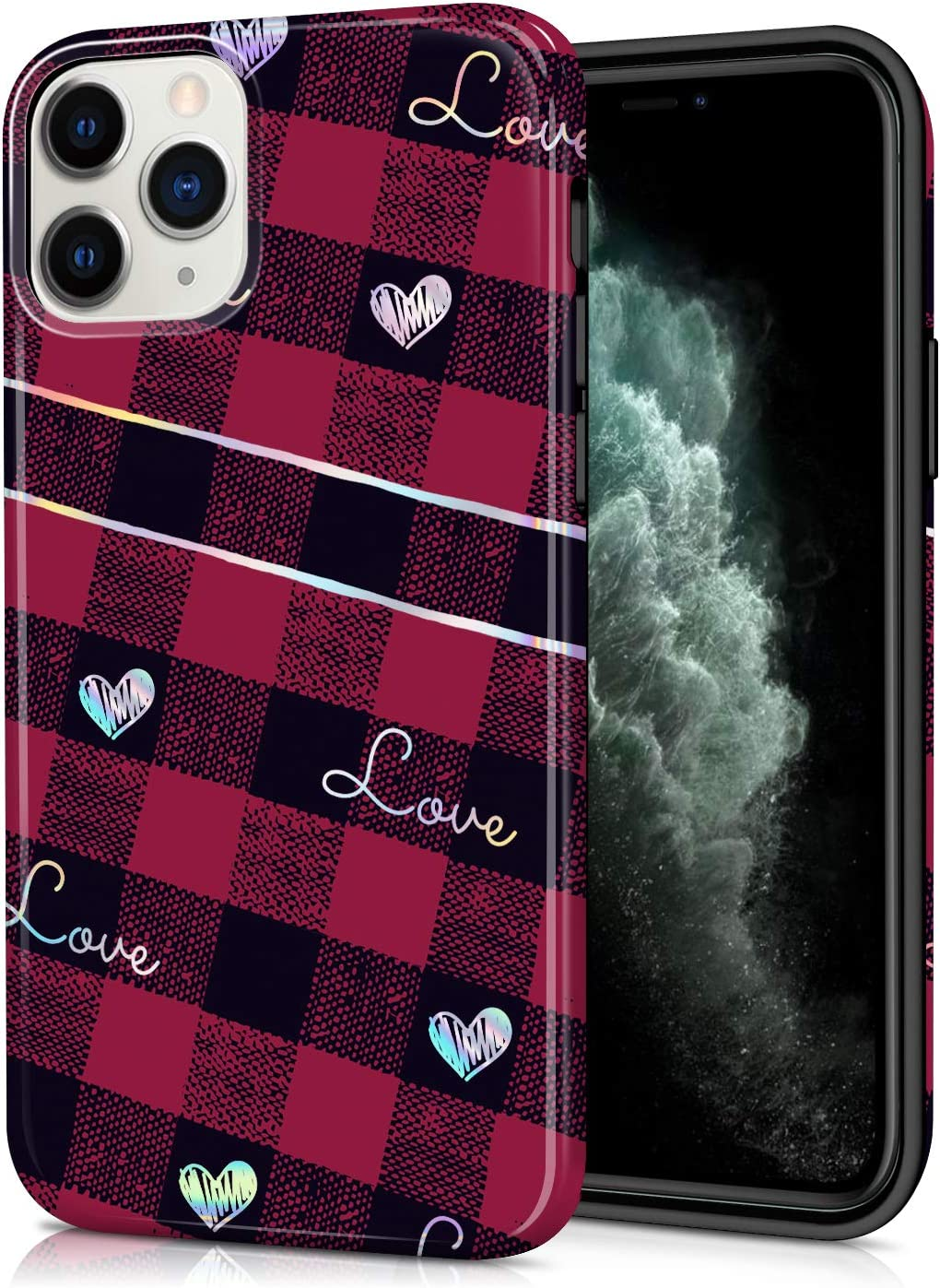 "CAOUME iPhone 11 Pro Max 2019 Release Case Holographic Red Love Plaid Heart Cute Symmetry Protective Stylish Cases for Apple Phone(6.5"") Cover with Silicone Bumper Defender Camera and Screen"