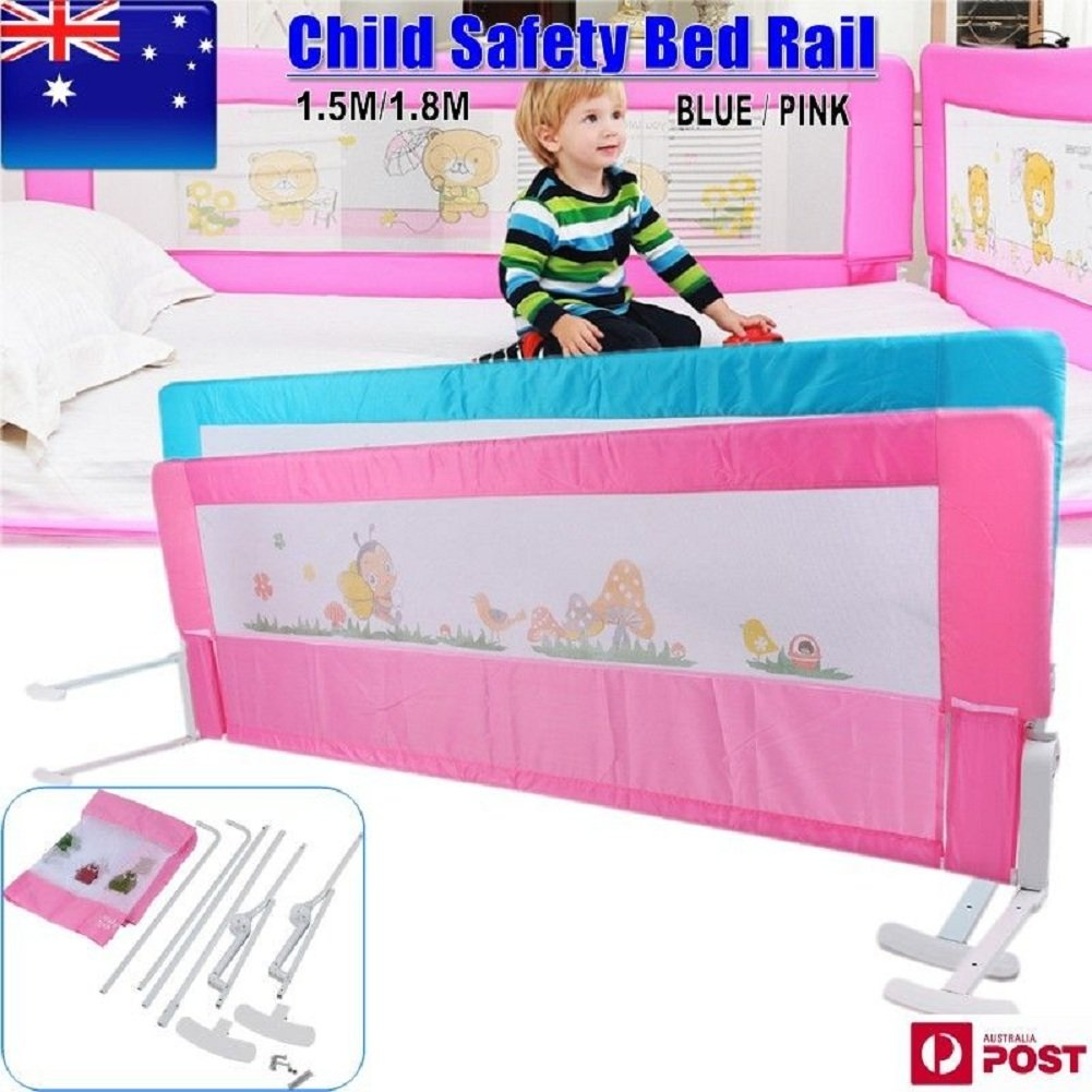 Kids Bed Rail Child Baby Toddler Safety Guard Protection Folding Bedrail 150 180CM X 54cm Blue Amazonau