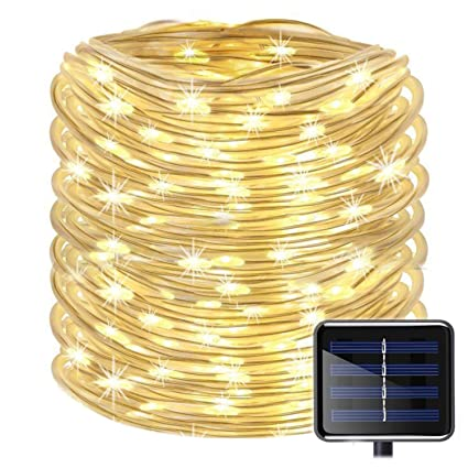 Outdoor Solar Rope Lights 8 Lighting Modes 100 Led33ft Waterproof Copper Wire String
