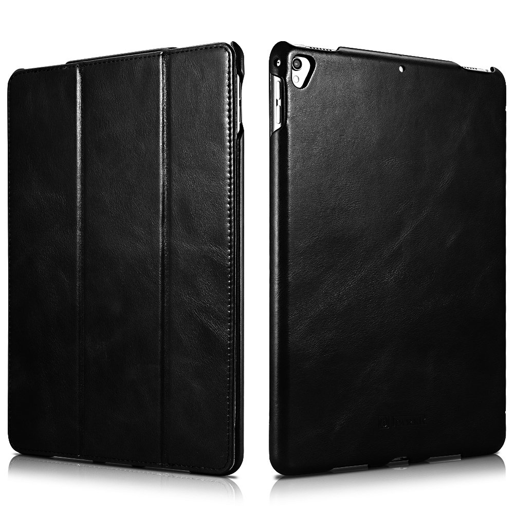 iPad Pro 12.9 Case, Icarercase Genuine Leather Case Folio Flip Smart Cover Auto Wake/Sleep Function [Magnetic Closure] Kickstand for Apple iPad Pro 12.9(2017)Black