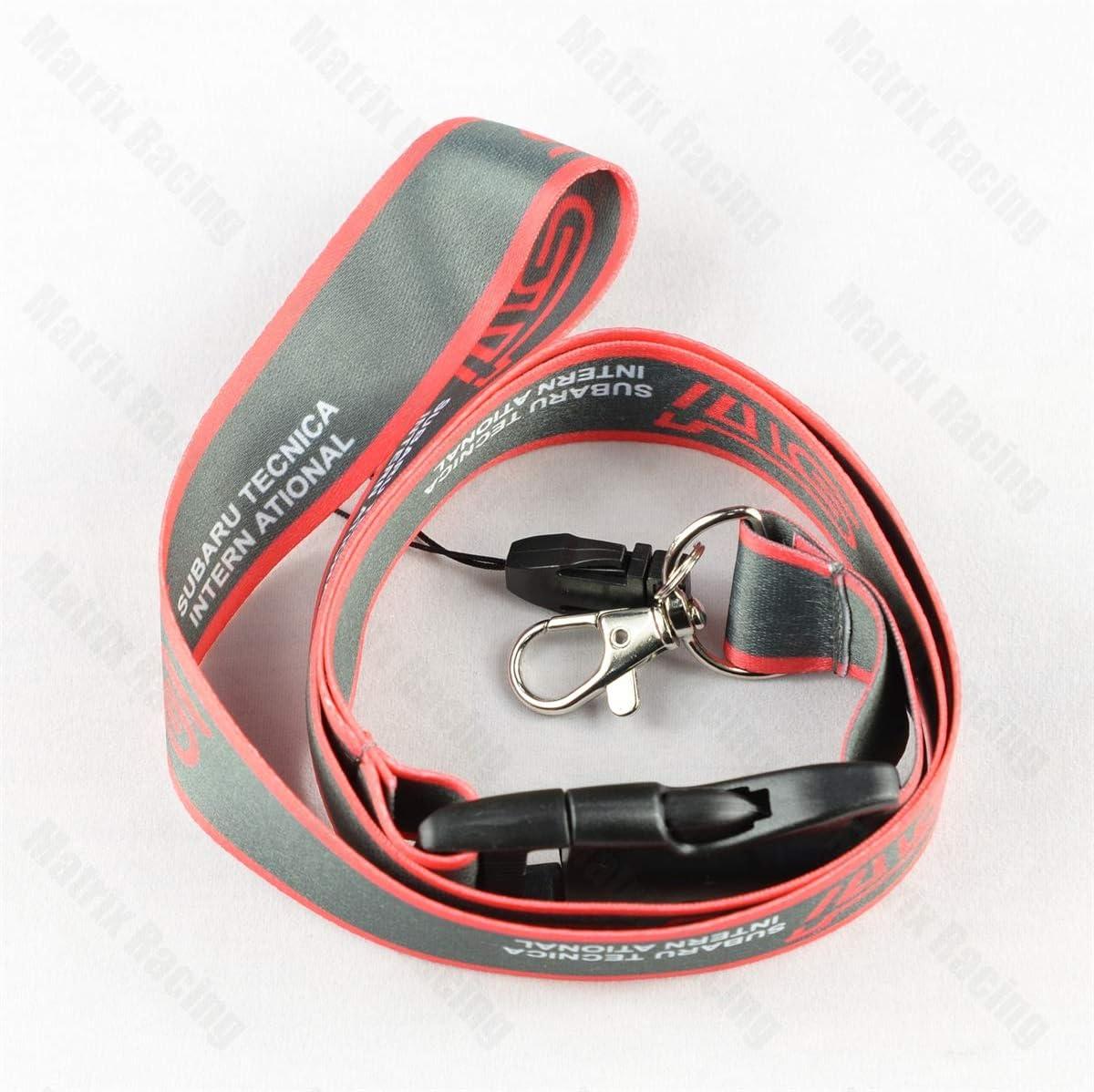 Gray JDM Style for STI Lanyard Racing Car Keychain ID Card Badge Holder Neck Strap for Subaru WRX Impreza Forester Outback BRZ Legacy Ascent Crosstrek