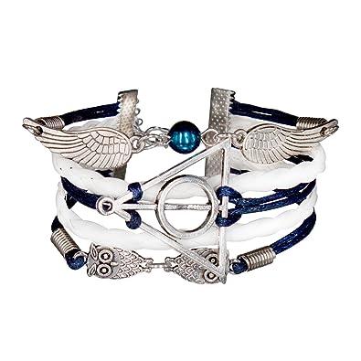 9553d88c479f Infinity Bijoux - Pulsera infinito harry potter, búho, alas de ángel y  perla / eternidad / one direction - blanco/ plateado