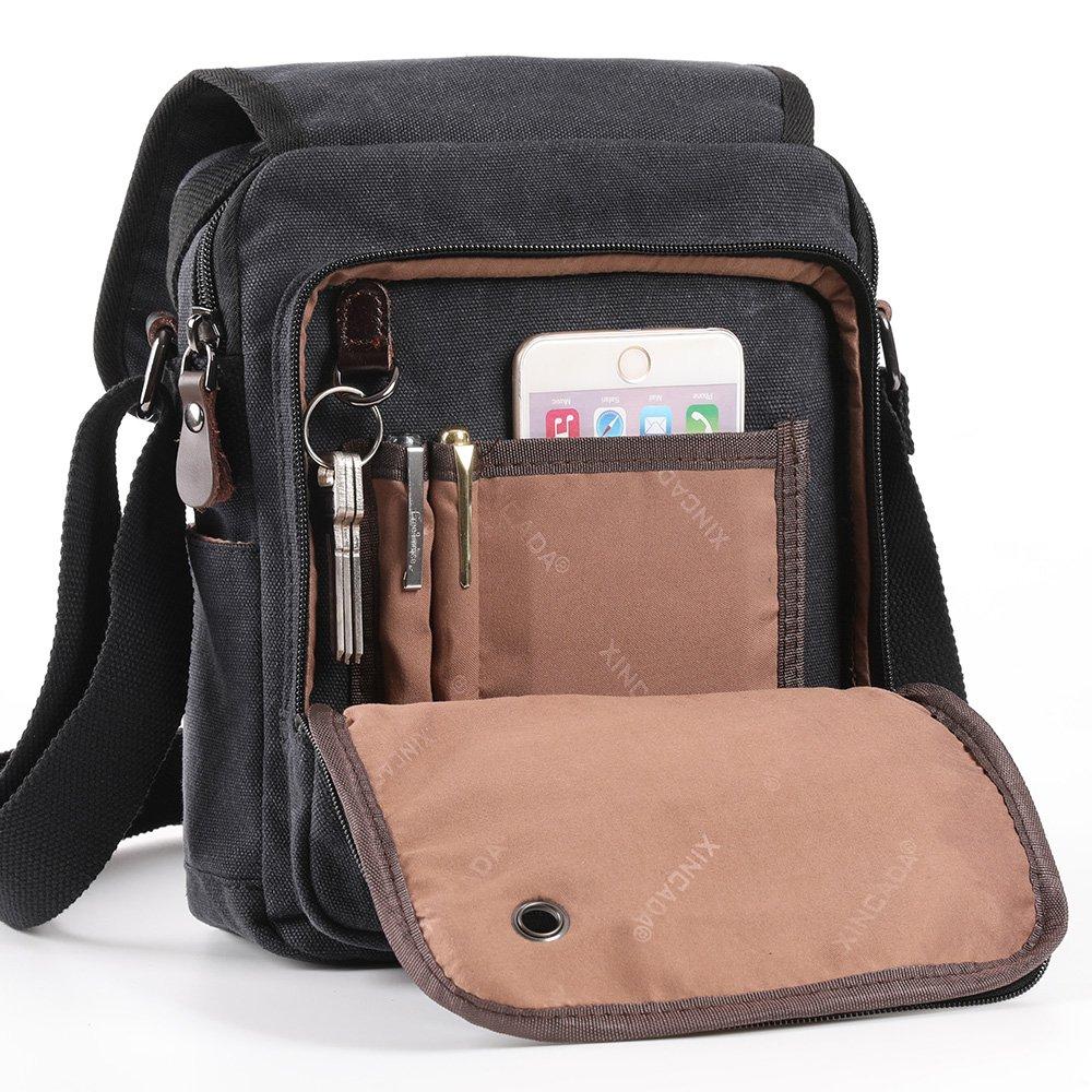 XINCADA Mens Bag Messenger Bag Canvas Shoulder Bags Travel Bag Man Purse Crossbody Bags for Work Business (black) by XINCADA (Image #3)