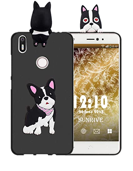 Sunrive Funda para bq Aquaris X/X Pro, Silicona Mate Funda Slim Fit Gel 3D Carcasa Case Bumper de Impactos y Anti-Arañazos Espalda Cover(W1 Perrito) + ...
